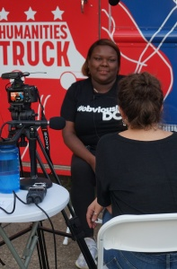 Maren Orchard interviews Ashley Emerson outside the Humanities Truck.