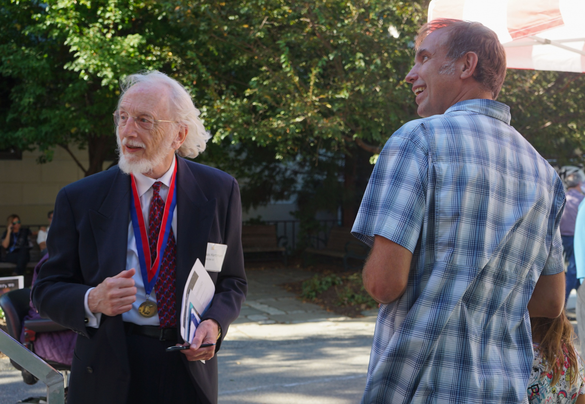 Dan Kerr talks with Thomas Hartman, a graduate of the Class of 1963.