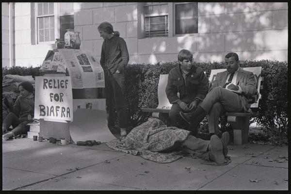 Student activity around a Relief for Biafra stand, American University, October 5, 1968