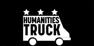 White Humanities Truck logo on black background